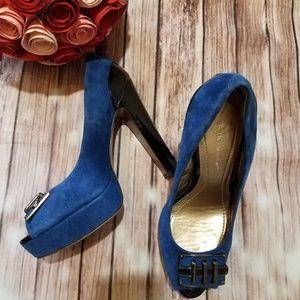 BCBM blue and black platform heels